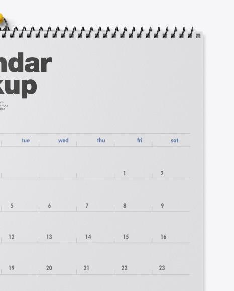 Textured Wall Calendar w/ Pin Mockup