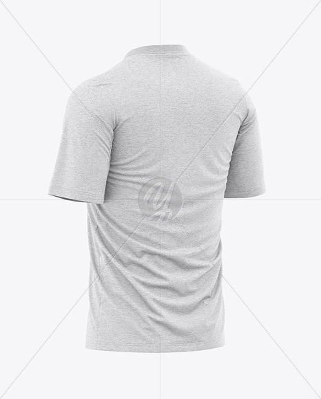 Men's Heather Loose-Fit T-shirt Mockup - Back Half-Side View