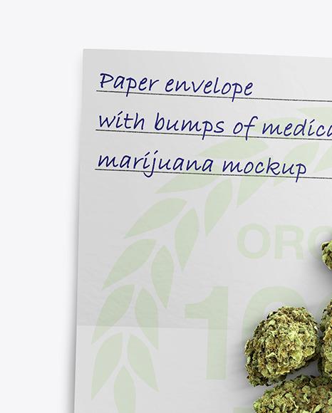Paper Envelope with Marijuana Mockup