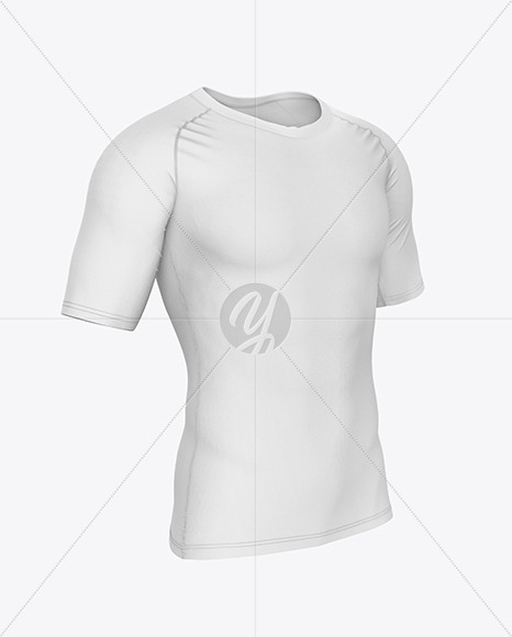 Compression T-Shirt Mockup – Front Half Side View