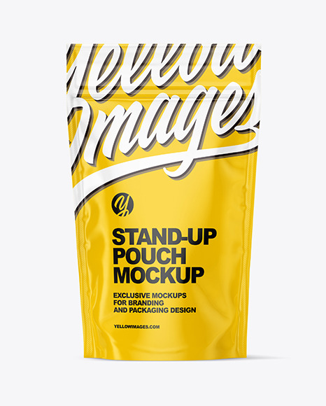 Download Glossy Stand Up Pouch With Zipper Mockup In Pouch Mockups On Yellow Images Object Mockups