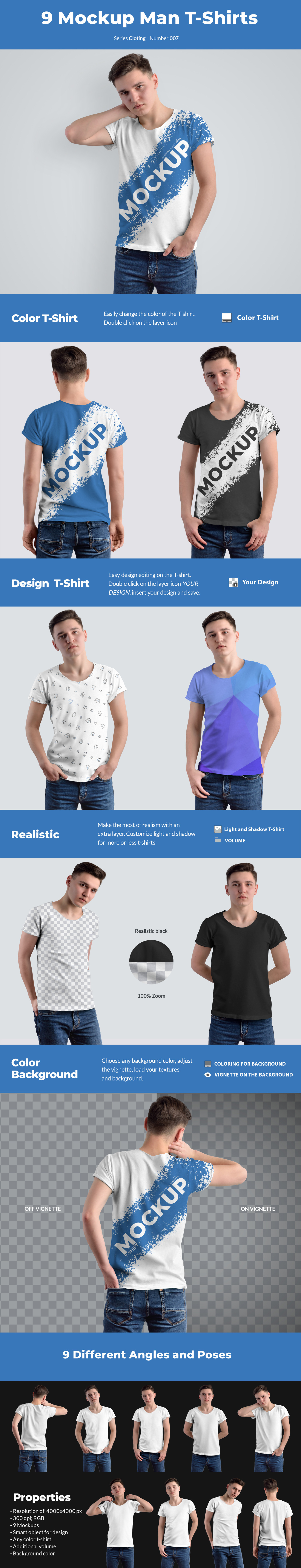 Download 9 Mockups T Shirts On The Men S In Apparel Mockups On Yellow Images Creative Store PSD Mockup Templates