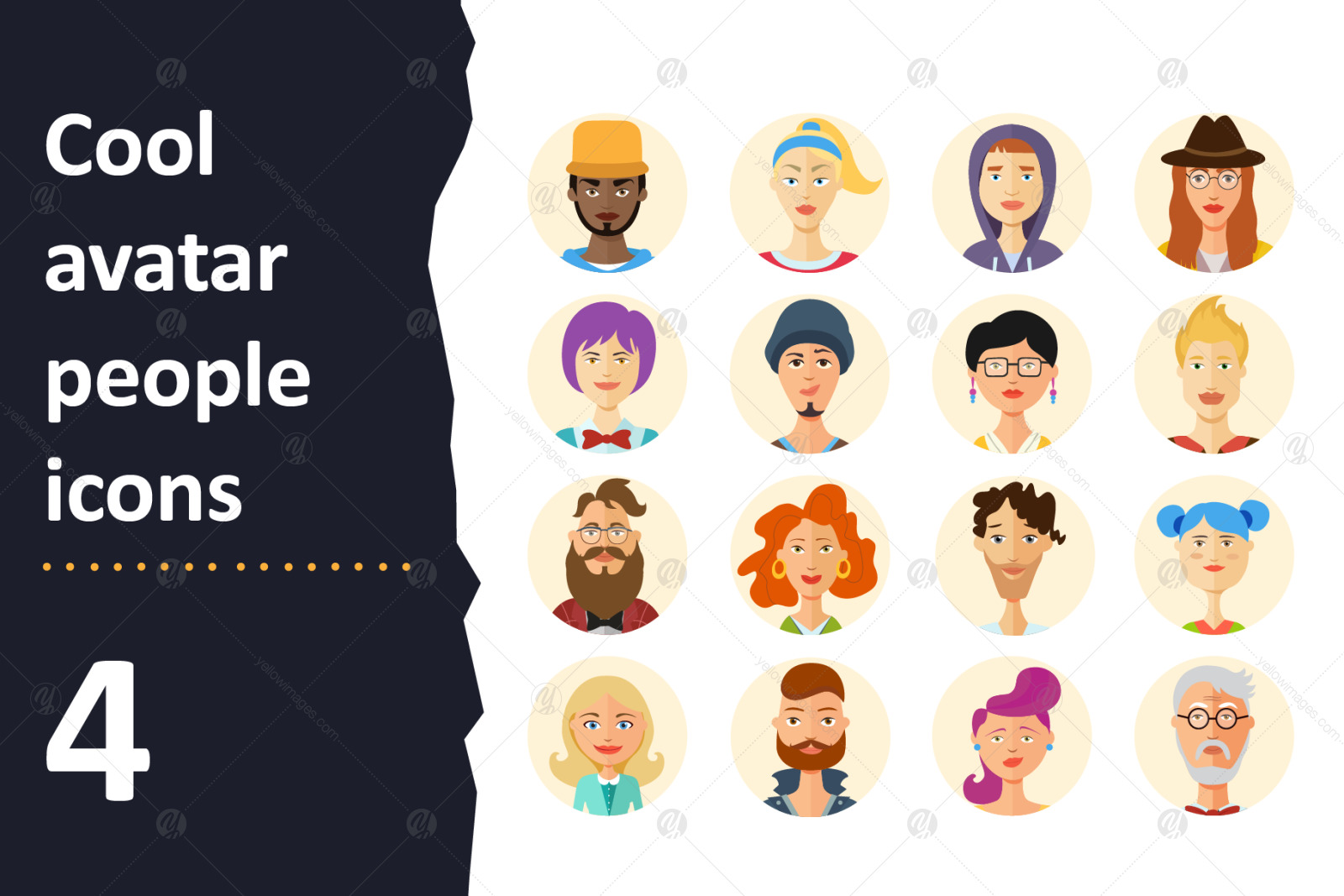 64 Avatar icons vector people collection