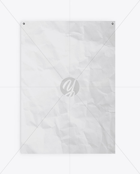 Crumpled Poster W Pins Mockup In Stationery Mockups On Yellow