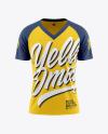 Men's Raglan V-Neck T-Shirt Mockup