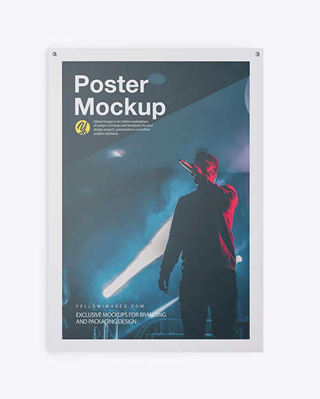 Matte Poster Mockup In Stationery Mockups On Yellow Images Object
