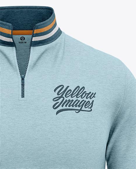 Download Mens Quarter Zip Sweatshirt Mockup Back Half Side View Of Zipped Pullover Yellow Images