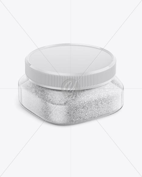 Glass Jar with Sea Salt Mockup - Half Side View (High-Angle Shot)