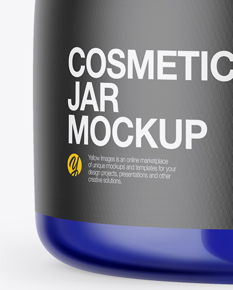 Blue Glass Cosmetic Jar Mockup