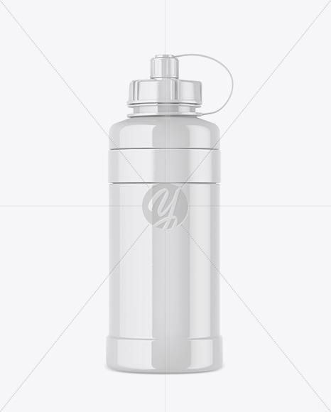 1000ml Glossy Plastic Sport Bottle Mockup