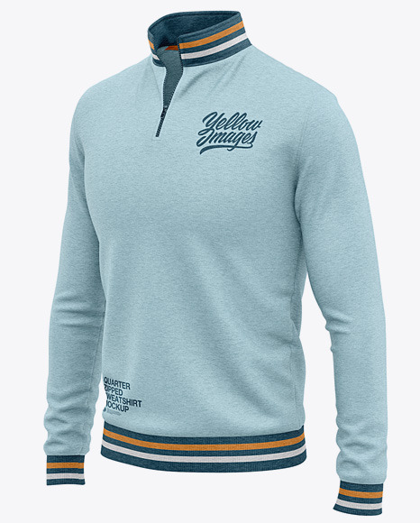 Men's Heather Quarter Zip Sweatshirt Mockup - Front Half Side View