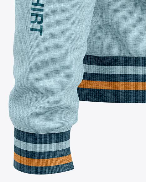 Men's Heather Quarter Zip Sweatshirt Mockup - Back Half Side View