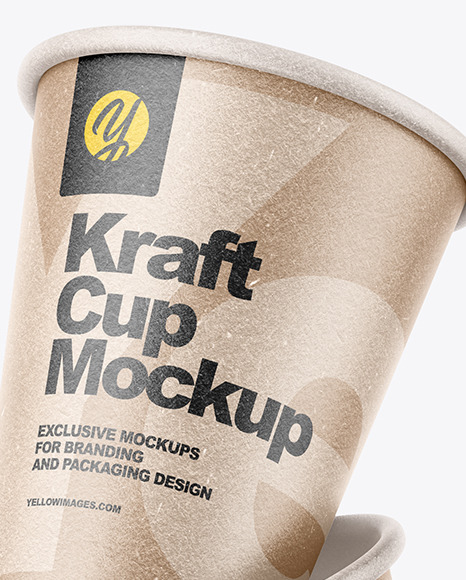 Three Kraft Cups Mockup