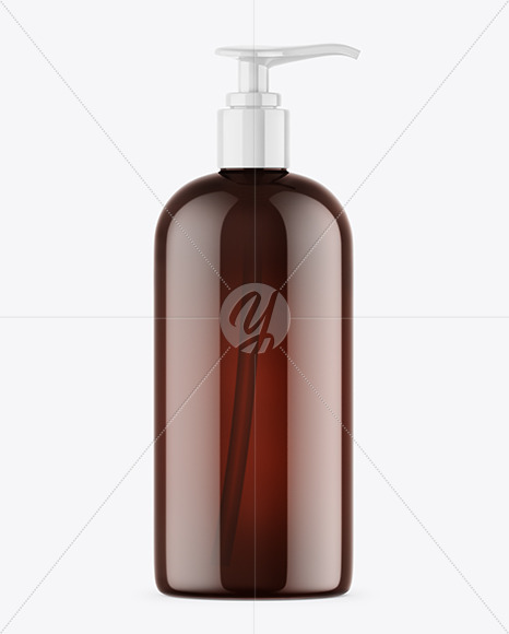 Amber Shower Gel Bottle with Pump Mockup