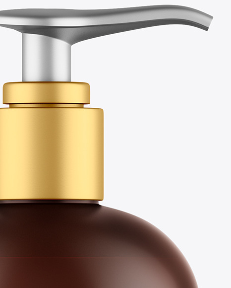 Frosted Amber Shower Gel Bottle with Pump Mockup