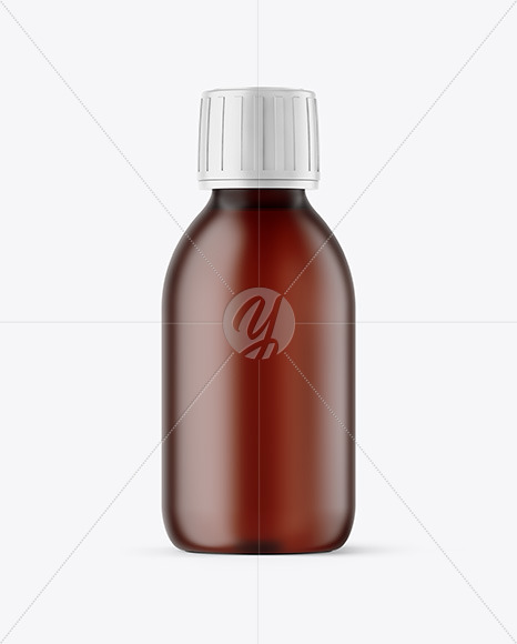 Frosted Amber Plastic Bottle Mockup
