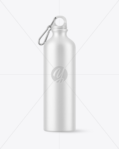 Matte Aluminum Sport Water Bottle with Carabiner Mockup