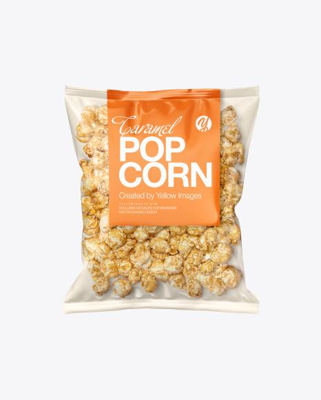 Plastic Bag With Caramel Popcorn Mockup