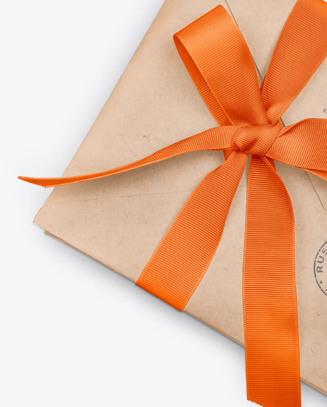 Envelope with Ribbon Mockup – Half Side View