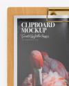 Wooden Clipboard w/ Textured Paper Mockup
