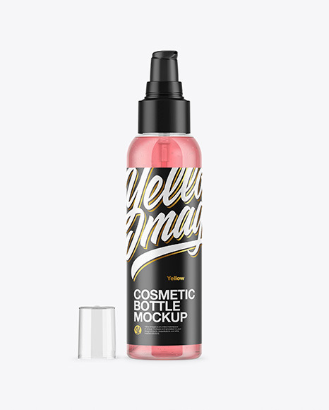 Clear Cosmetic Bottle with Gel Mockup
