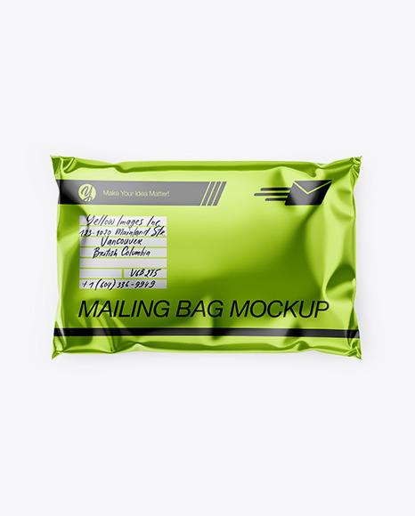 Download Metallic Mailing Bag Top View PSD Mockup