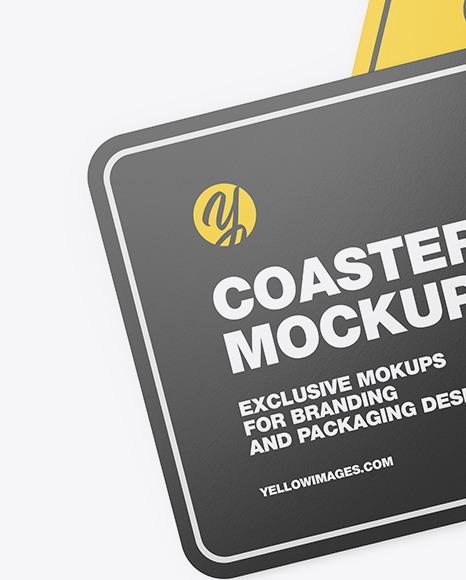 Paper Beverage Coasters Mockup