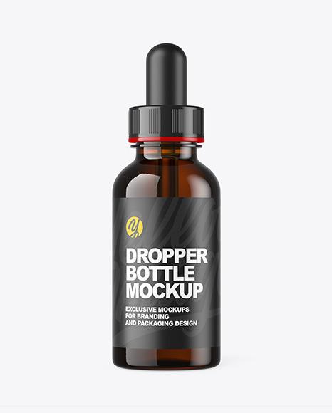 Download Dark Amber Dropper Bottle PSD Mockup