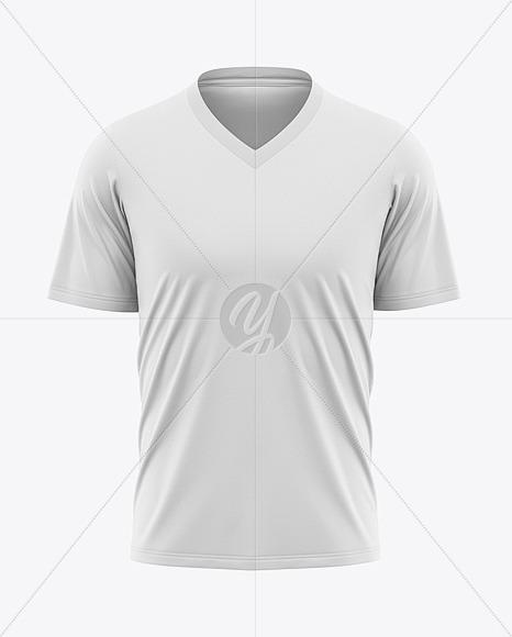 Download Men S V Neck T Shirt Mockup Front View In Apparel Mockups On Yellow Images Object Mockups PSD Mockup Templates