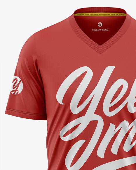 Men's V-Neck T-Shirt Mockup - Front View