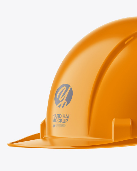 Glossy Hard Hat Mockup - Half Side View
