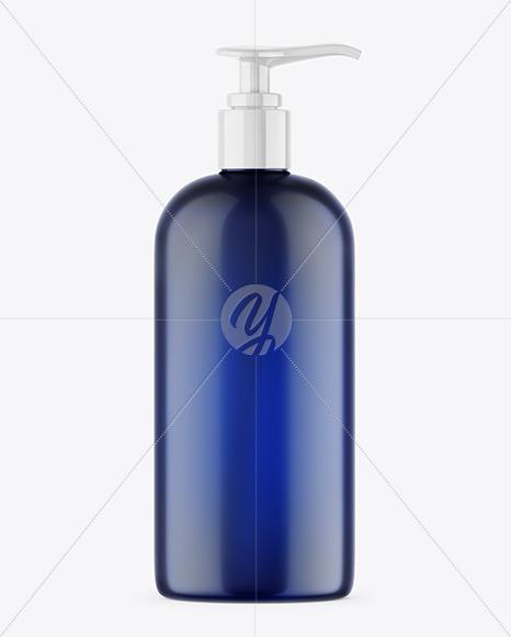 Blue Shower Gel Bottle with Pump Mockup