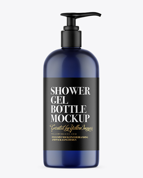 Download Blue Shower Gel Bottle with Pump PSD Mockup