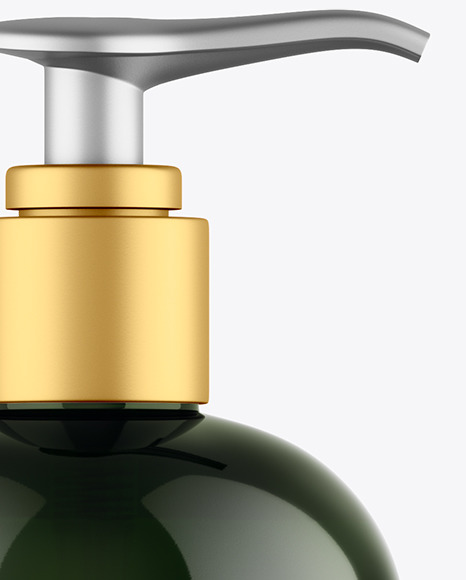 Green Shower Gel Bottle with Pump Mockup