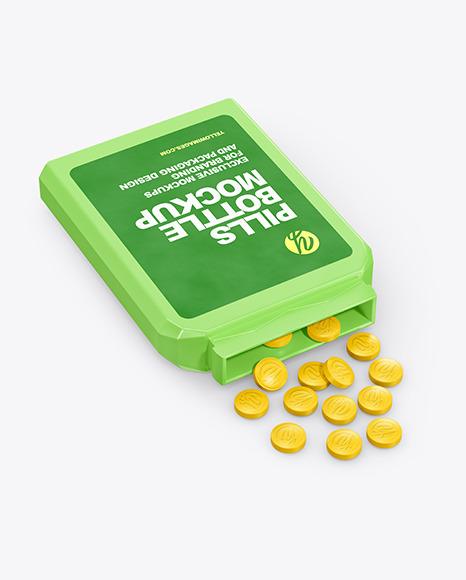 Download Opened Flat Pills Bottle PSD Mockup