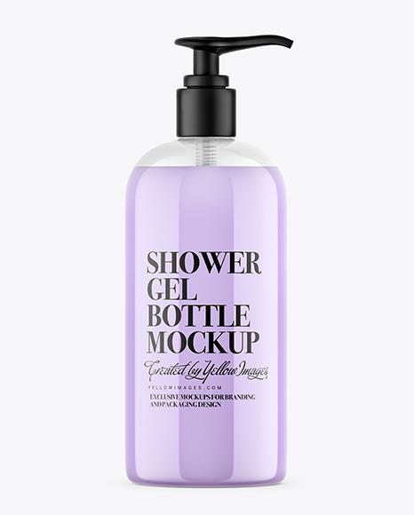 Download Shower Gel Bottle with Pump PSD Mockup
