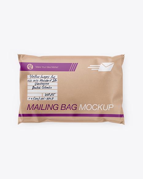 Download Kraft Mailing Bag Top View PSD Mockup