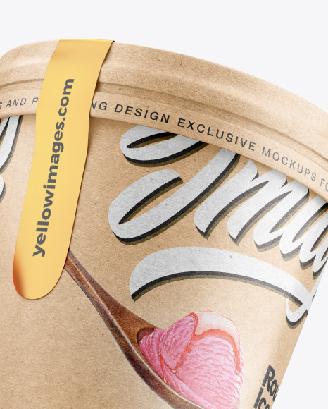 Two Kraft Ice Cream Cups Mockup