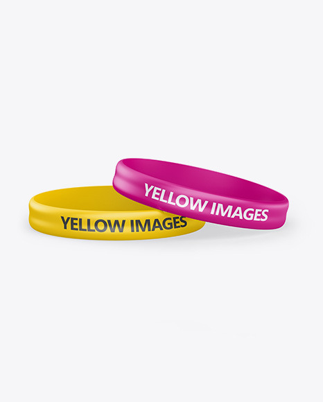 Two Glossy Silicone Wristbands Mockup