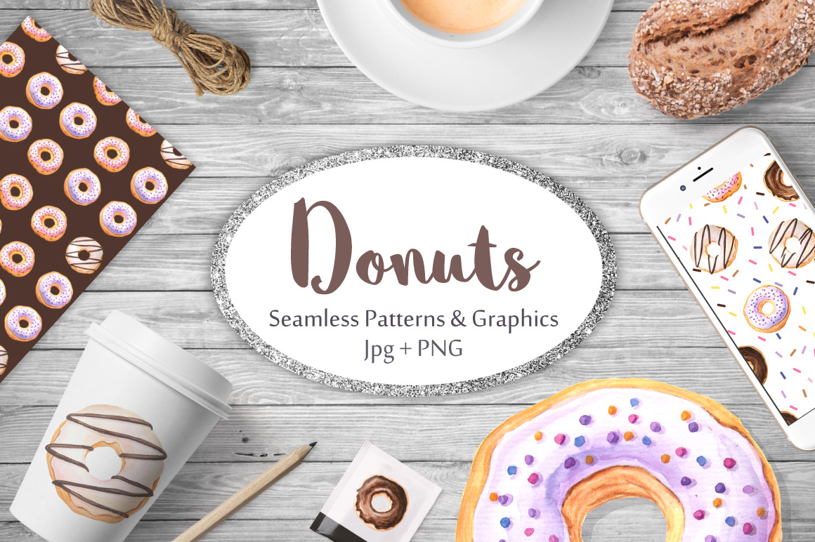 Watercolor Donuts Patterns&Graphics