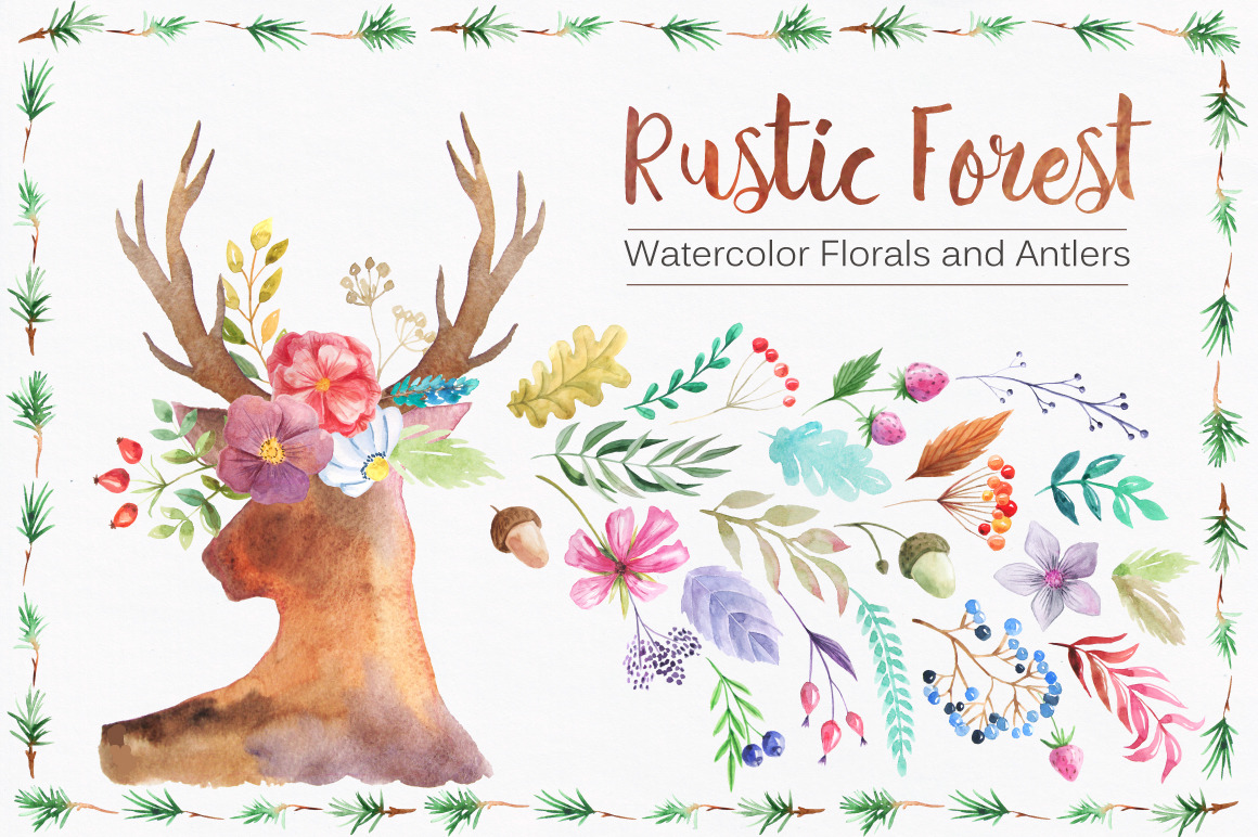 Watercolor Rustic Forest Set