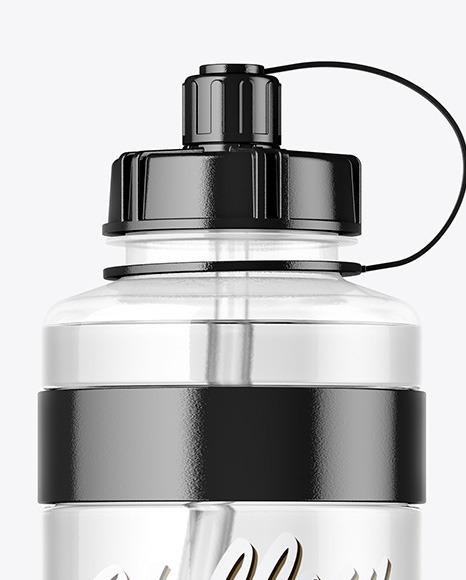 1000ml Clear Plastic Sport Bottle Mockup