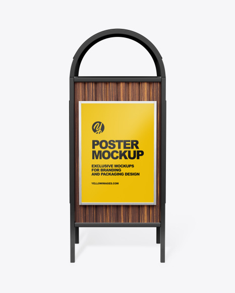 Rubbish Bin With Poster Mockup Front View In Outdoor Advertising