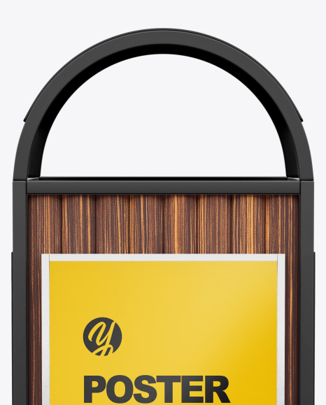 Rubbish Bin with Poster Mockup - Front View