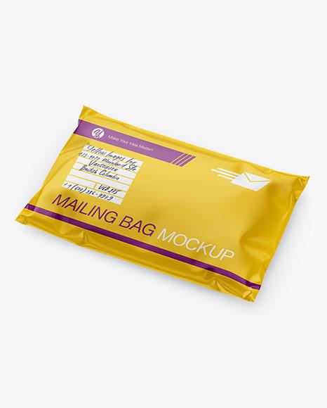 Download Glossy Mailing Bag Half Side View PSD Mockup