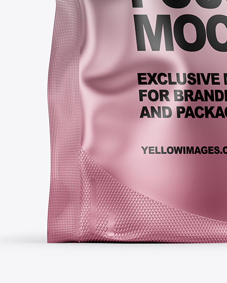 Matte Metallic Stand Up Pouch Bag Mockup