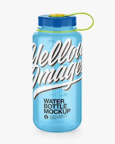 Glossy Transparent Water Bottle Mockup