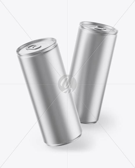 Two Matte Metallic Cans Mockup
