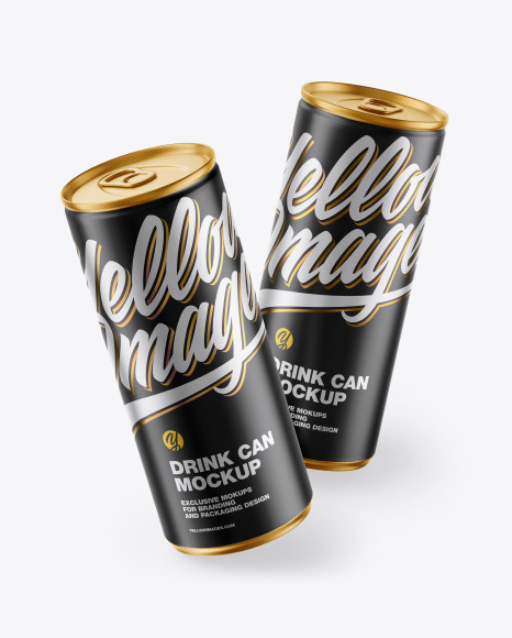 Download Two Matte Metallic Cans PSD Mockup