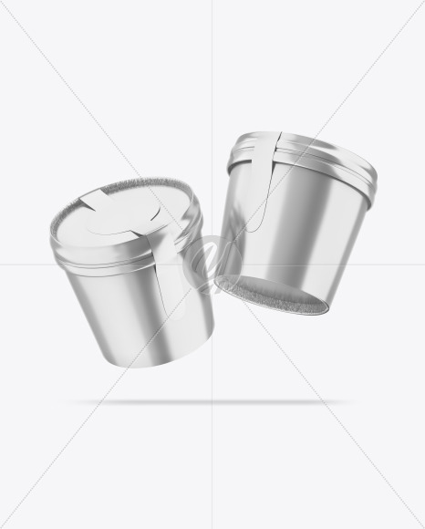 Two Metallic Ice Cream Cups Mockup